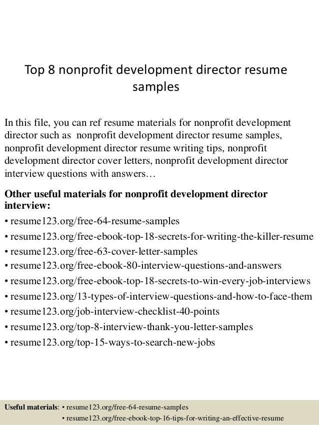 non profit development resume