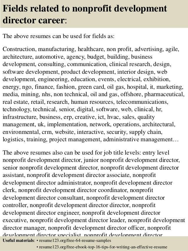 Top 8 nonprofit development director resume samples