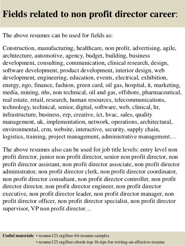 Top 8 non profit director resume samples