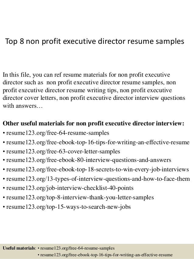 Top 8 Non Profit Executive Director Resume Samples In This File, You Can  Ref Resume ...  Non Profit Resume Samples
