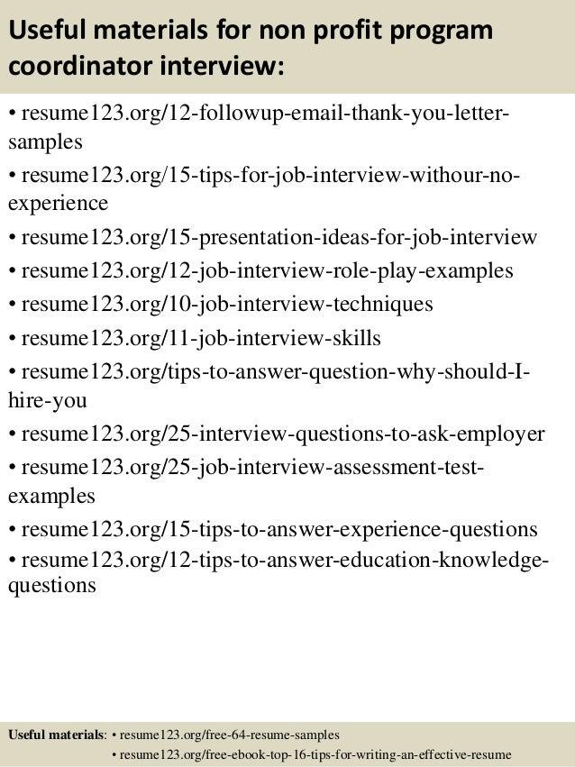 Top 8 Non Profit Program Coordinator Resume Samples