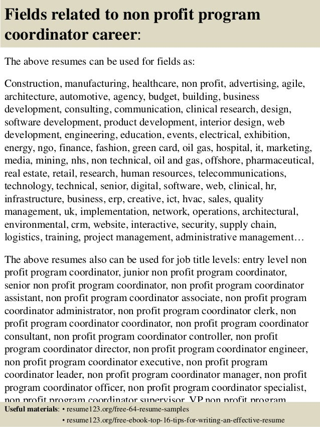 ... 16. Fields Related To Non Profit Program Coordinator ...  Program Coordinator Resume