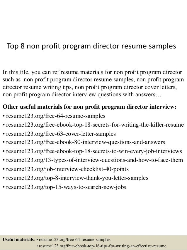 Top 8 Non Profit Program Director Resume Samples