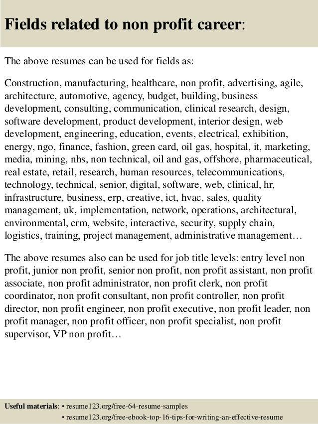Top 8 non profit resume samples