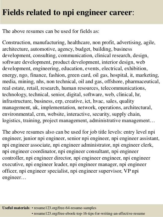 top 8 npi engineer resume sles