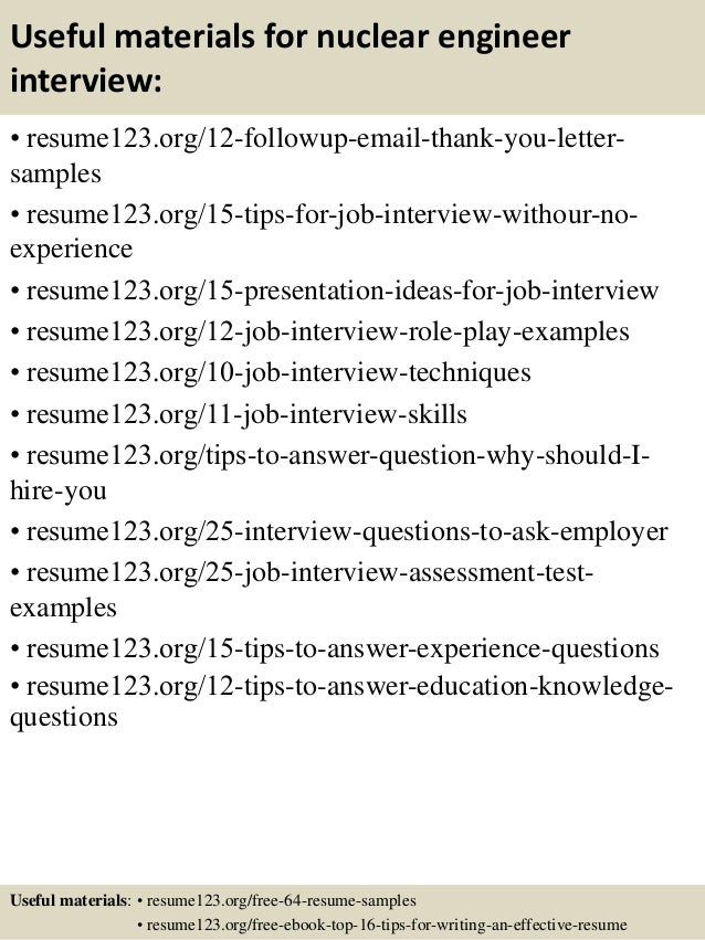 14 useful materials for nuclear engineer - Nuclear Procurement Engineer Sample Resume
