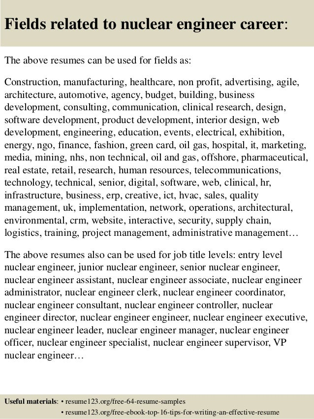 16 fields related to nuclear engineer - Nuclear Procurement Engineer Sample Resume
