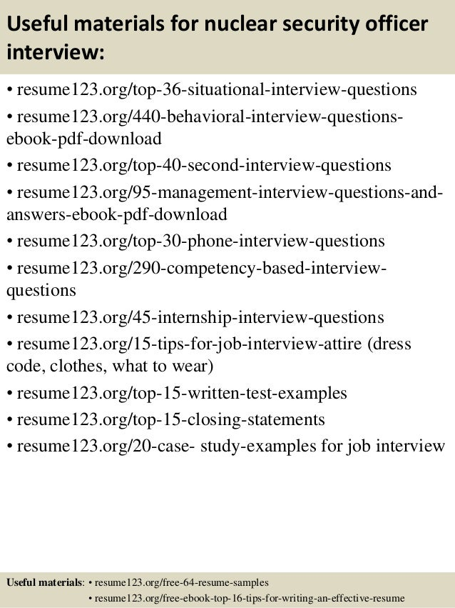 12 useful materials for nuclear security officer - Nuclear Security Guard Sample Resume
