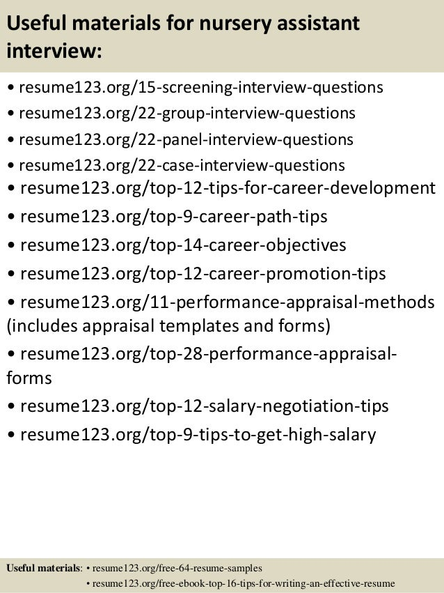 top 8 nursery assistant resume samples