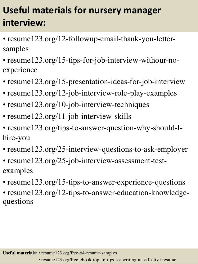 Top 8 nursery manager resume samples