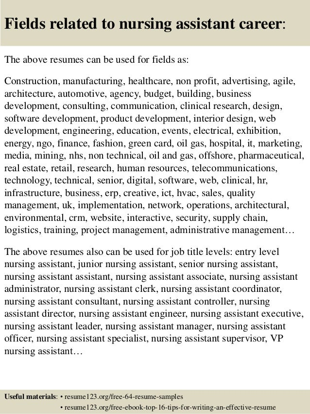 16 fields related to nursing assistant - Nurse Assistant Resume Sample