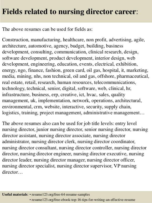 Top 8 nursing director resume samples