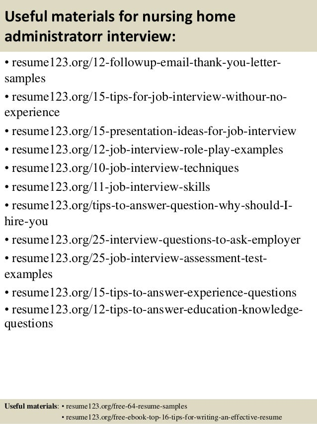 useful materials for nursing home administratorr interview resume123