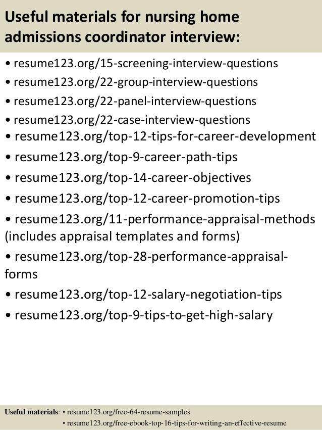 Nursing home admissions coordinator resume