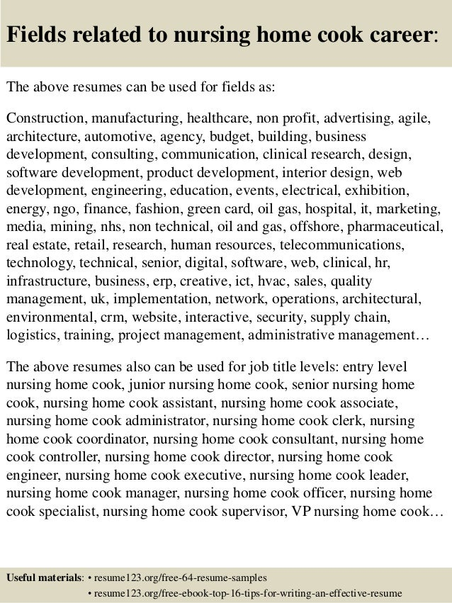 top 8 nursing home cook resume sles