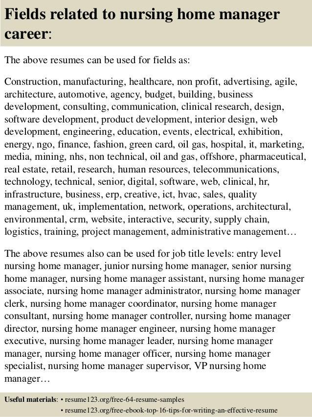 nursing home manager resume