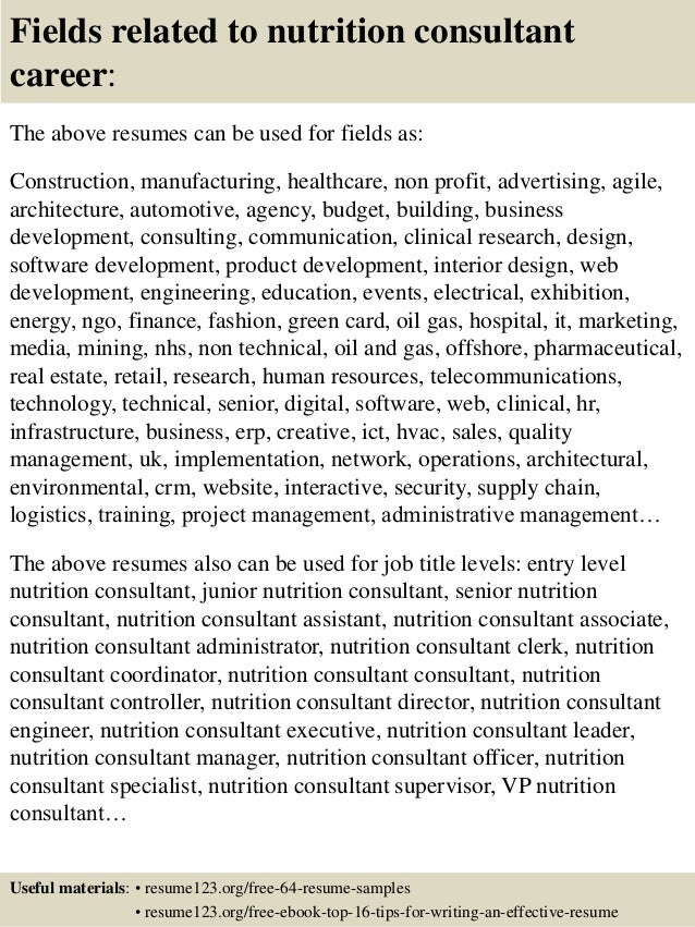 top 8 nutrition consultant resume samples