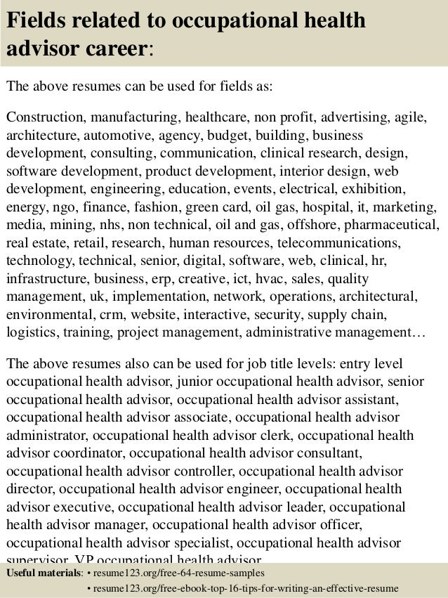 Top 8 Occupational Health Advisor Resume Samples