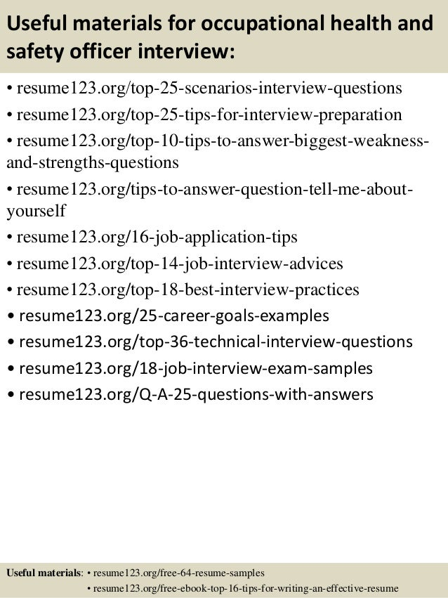 top 8 occupational health and safety officer resume samples