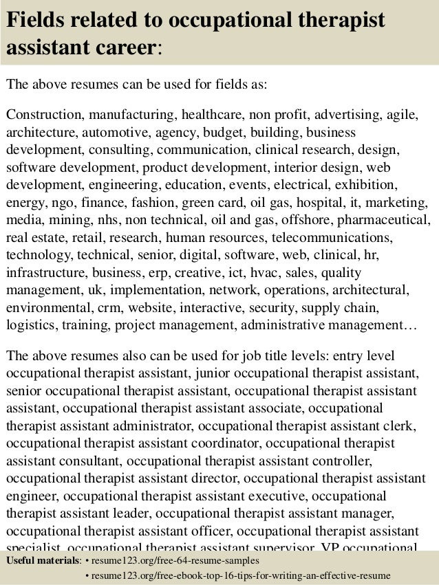 Lovely ... 16. Fields Related To Occupational Therapist Assistant ... Inside Occupational Therapy Assistant Resume