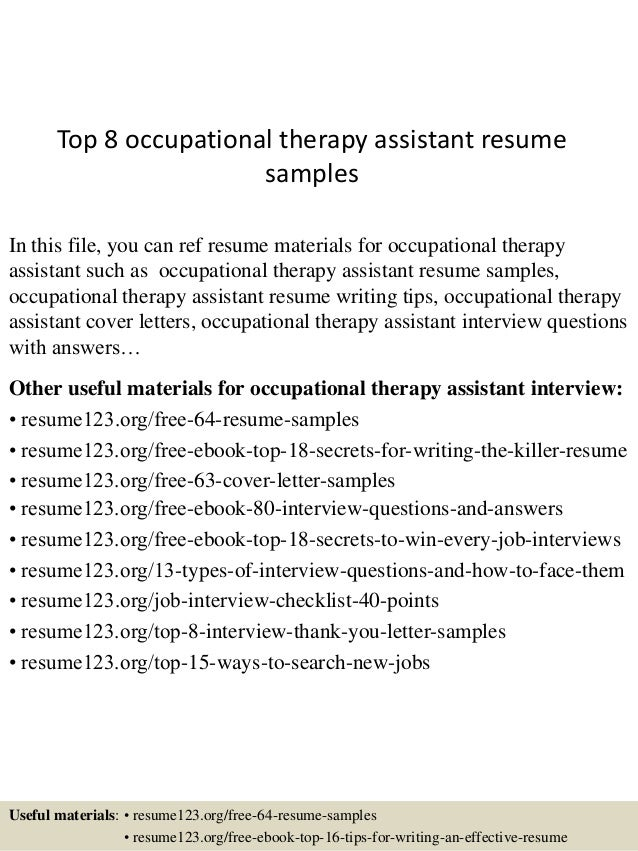 Top 8 Occupational Therapy Assistant Resume Samples