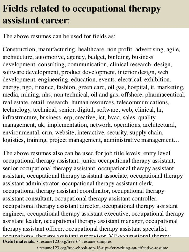 16 Fields Related To Occupational Therapy Sample Resume For