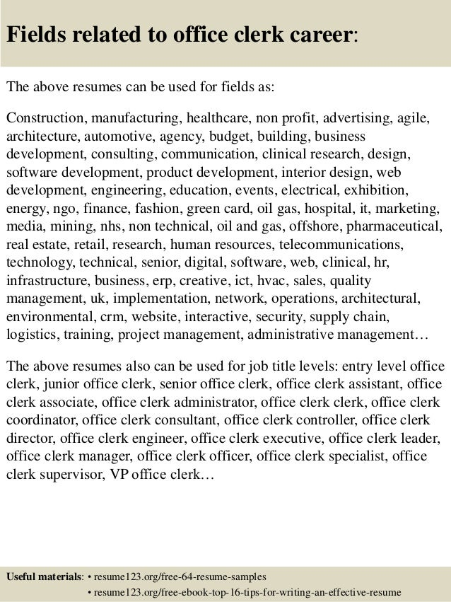 Top 8 office clerk resume samples
