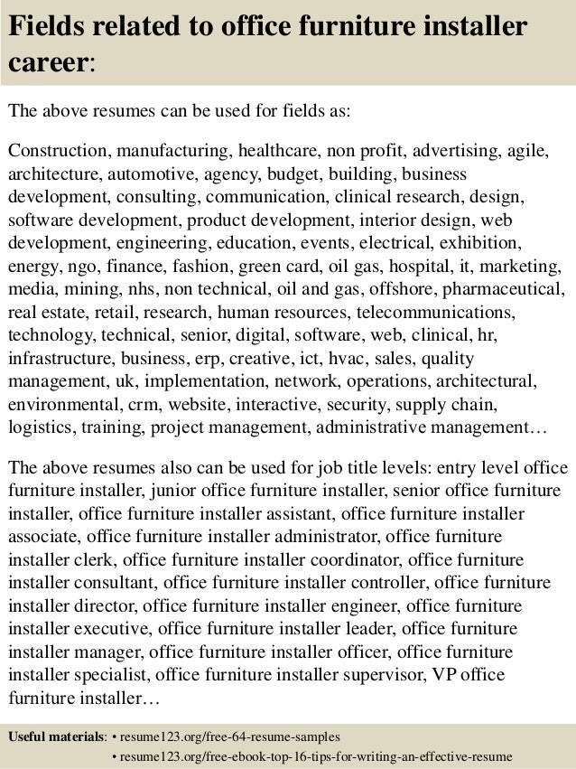 ... 16. Fields Related To Office Furniture Installer ...