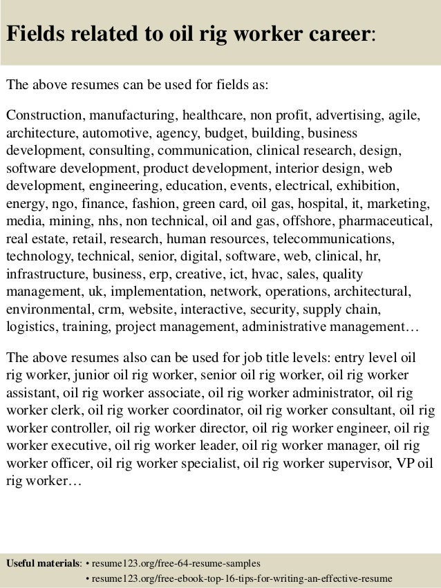 oil field resume samples free oilfield driller example top rig worker