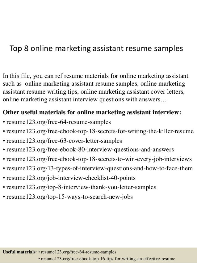 top 8 online marketing assistant resume samples in this file you can ref resume materials - Online Marketing Resume Sample