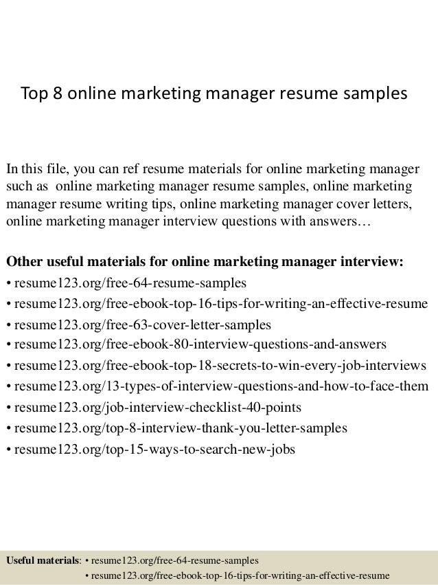 sample online marketing manager resume