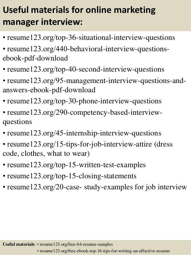 top 8 online marketing manager resume samples