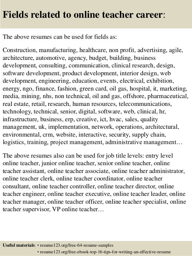 Top  Online Teacher Resume Samples