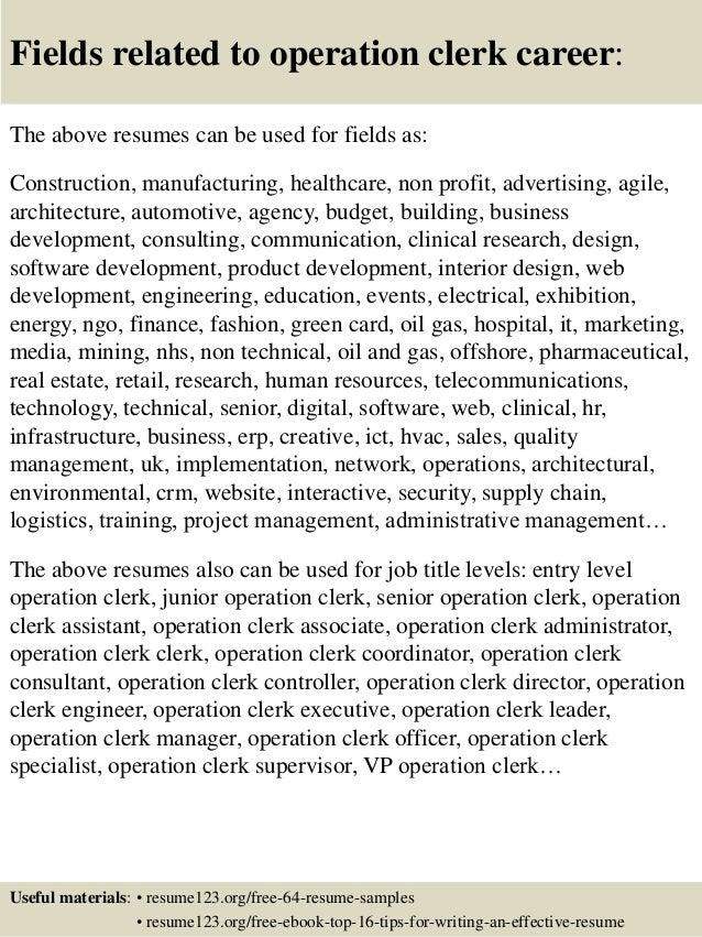16 fields related to operation clerk - Operations Clerk Sample Resume