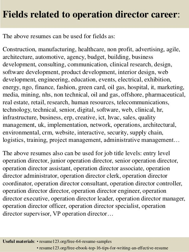 Top 8 operation director resume samples