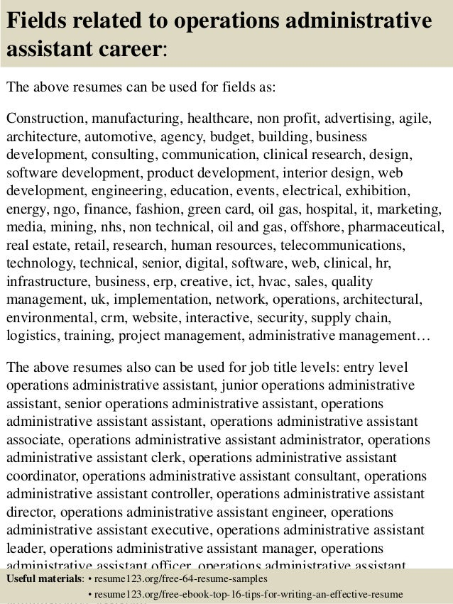 16 fields related to operations administrative assistant - Sample Administrative Assistant Resume