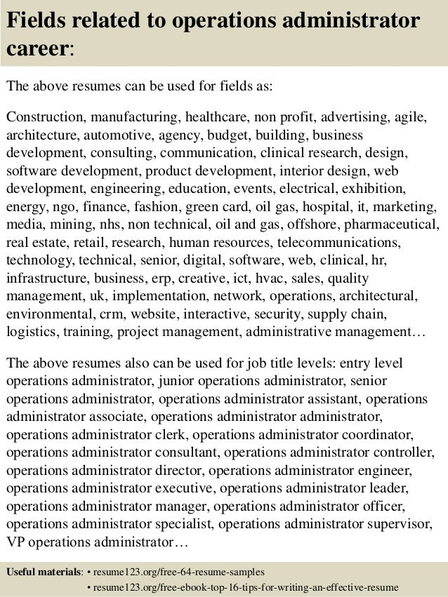 Top 8 operations administrator resume samples