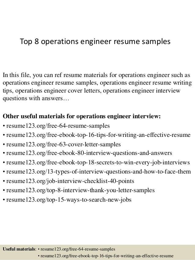 operations engineer resume - Roho.4senses.co