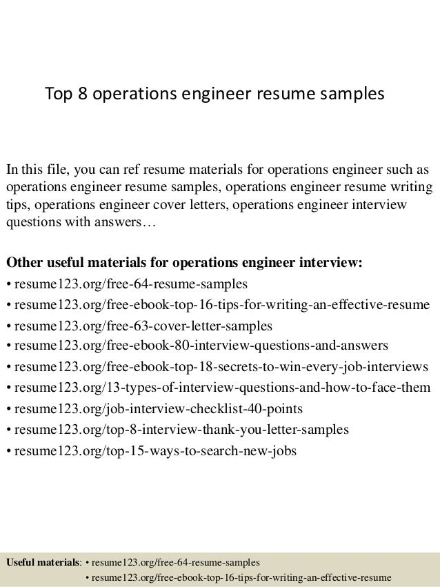 Top 8 operations engineer resume samples In this file, you can ref resume  materials for ...