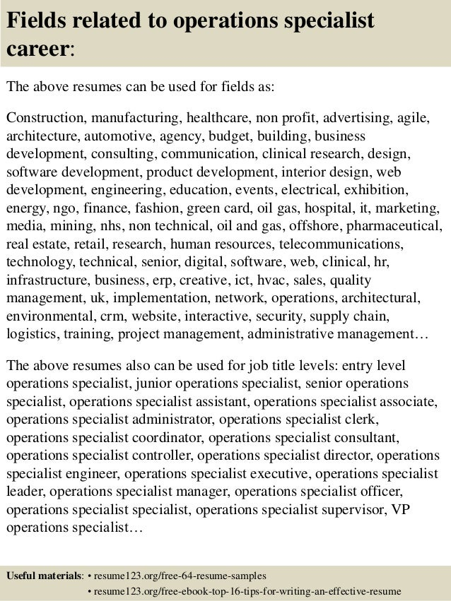 top 8 operations specialist resume samples