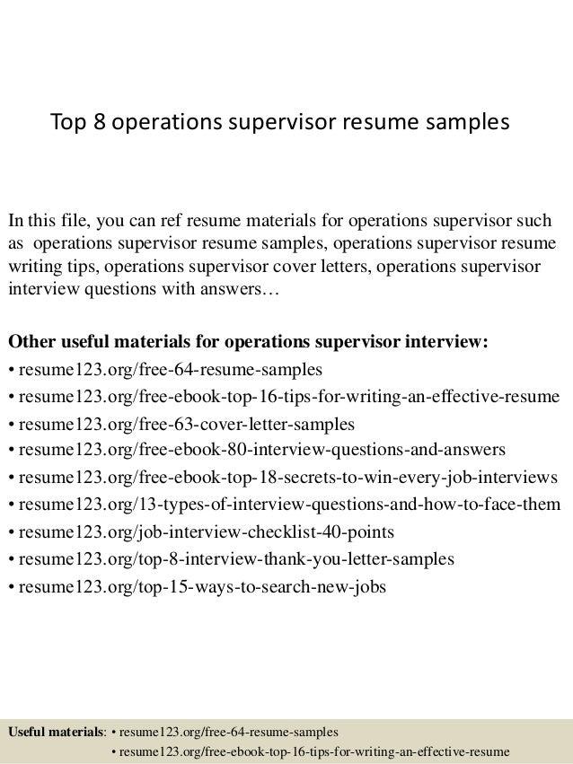 Superb Operations Supervisor Resume