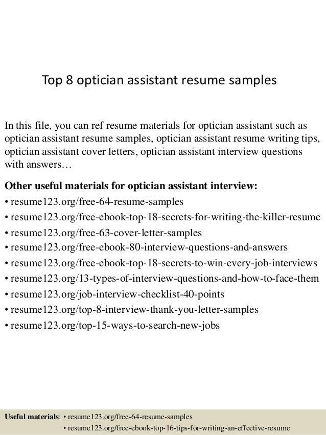 optician resumes