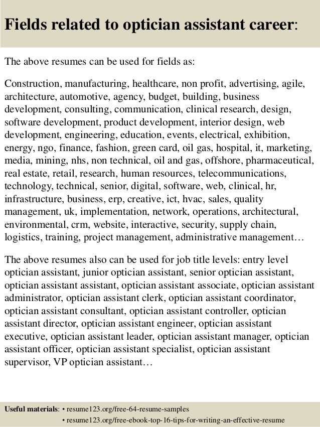... 16. Fields Related To Optician Assistant Career: The Above Resumes ...