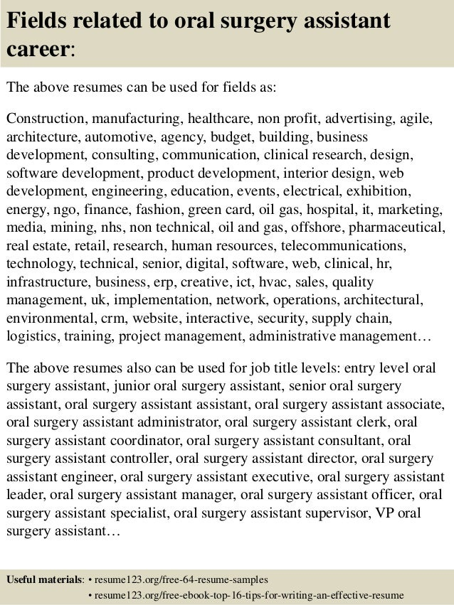 Oral Surgical Assistant Resume Samples. beaufiful dental istant ...