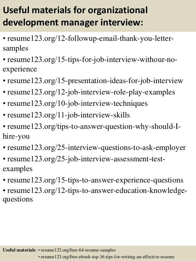 top 8 organizational development manager resume samples
