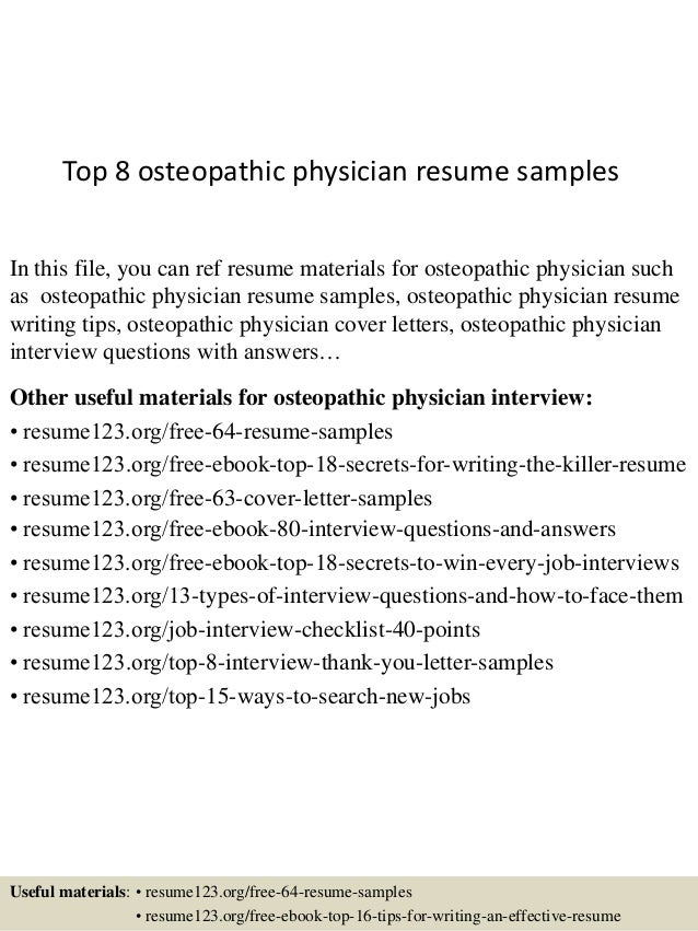 Top 8 Osteopathic Physician Resume Samples In This File, You Can Ref Resume  Materials For ...