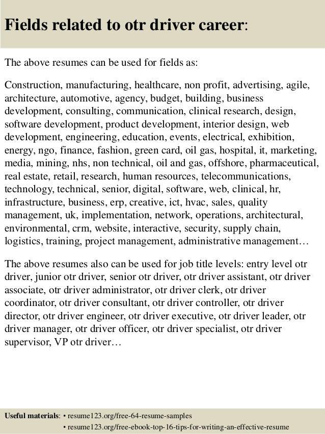 top 8 otr driver resume samples