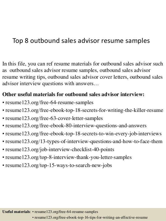 outbound sales resume
