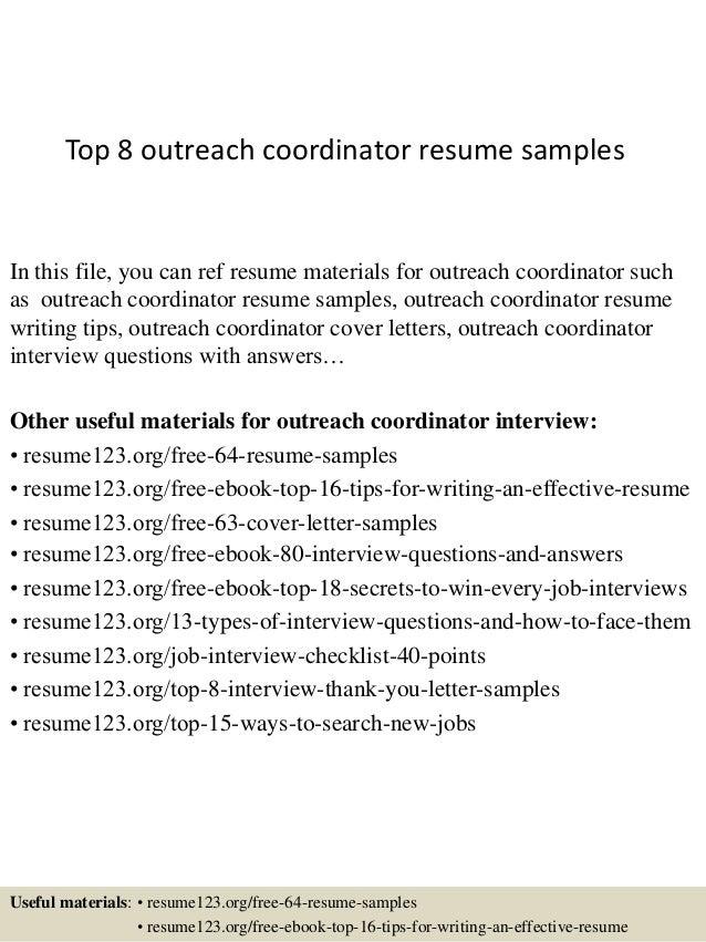 top 8 outreach coordinator resume samples 1 638 jpg cb 1427960158