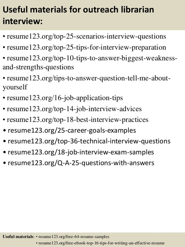 13 useful materials for outreach librarian. Resume Example. Resume CV Cover Letter